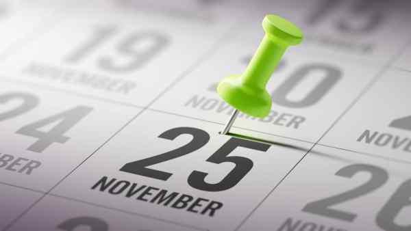 25th November marked on a calendar