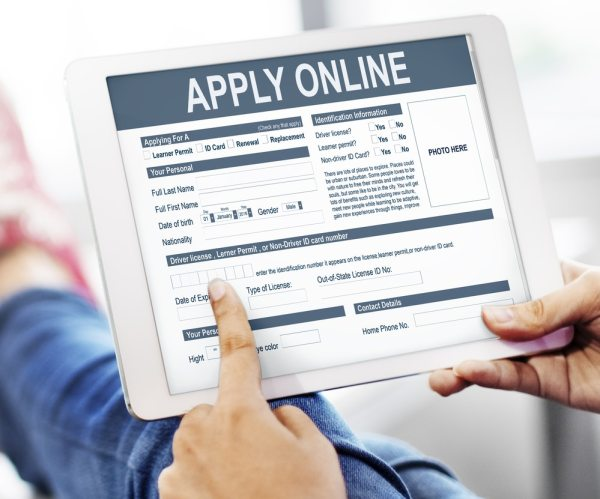 Apply online on a tablet