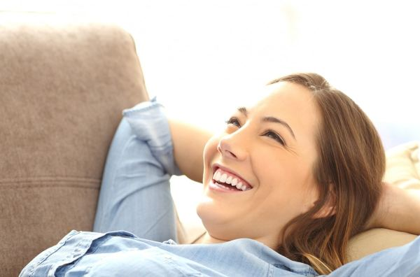 Happy woman relaxing