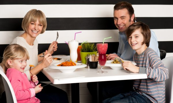 Family dining in a restaurant