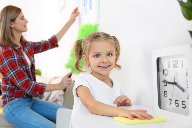 Action for children - Clear Your Clutter_family cleaning together.