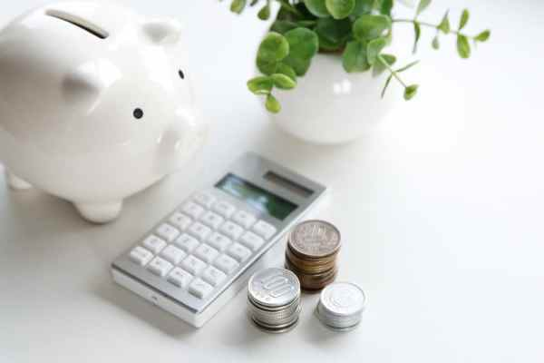 Piggy Bank, coins and calculator