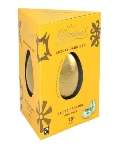 NEW Divine Luxury 70% Dark Chocolate Egg with Salted Mini Caramel Eggs