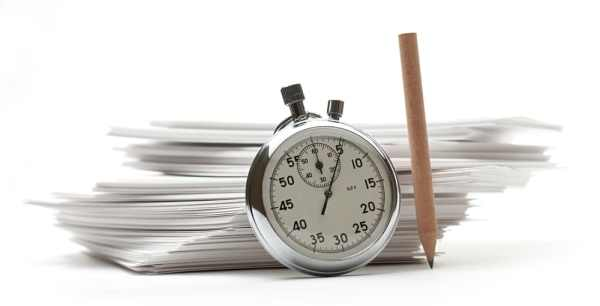 Papers and stopwatch