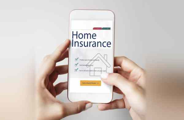 Home insurance website on phone