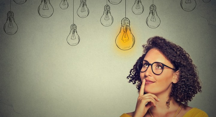 Woman idea light bulb