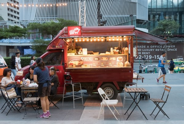 Food truck in the evening in the city