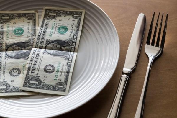 Dollar bills on dinner plate