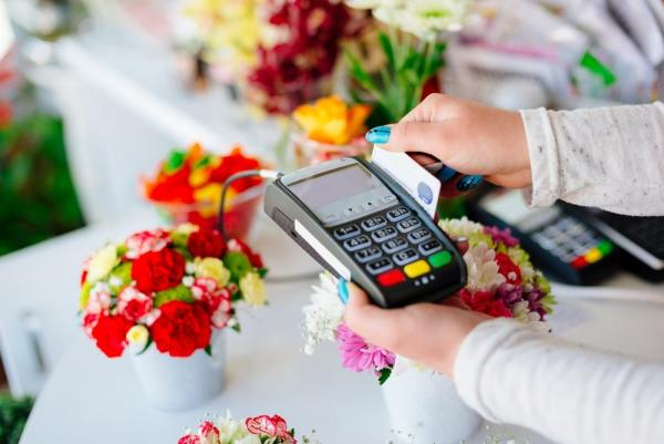 Card reader in florists shop