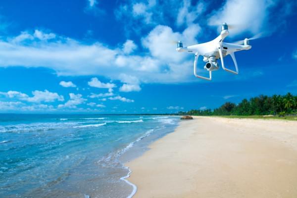 Drone above a beach