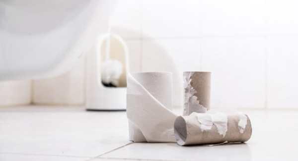 Empty toilet rolls in the bathroom