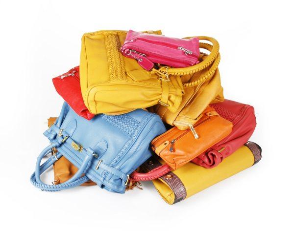 Pile of handbags