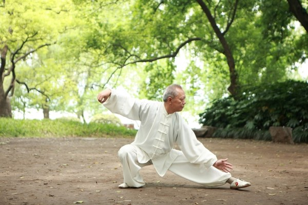 Elderly man doing Tai-Chi in the park