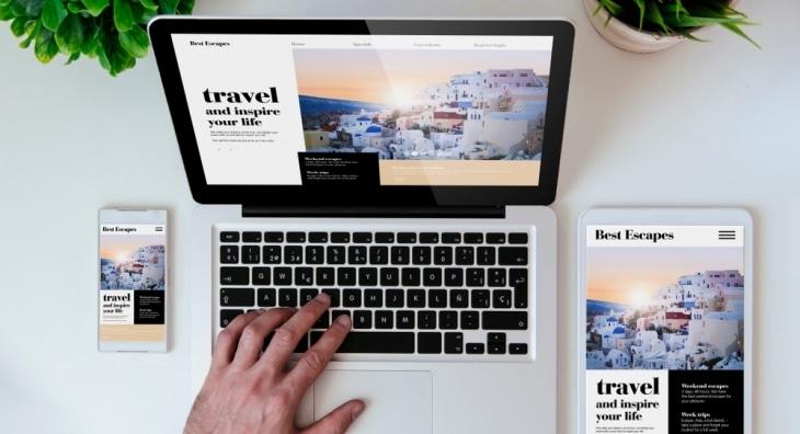 Travel websites on phone, laptop, tablet
