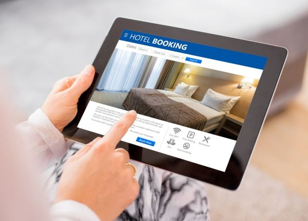 Hotel booking website on tablet