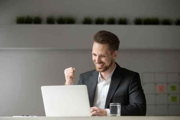 Businessman celebrating a betting win