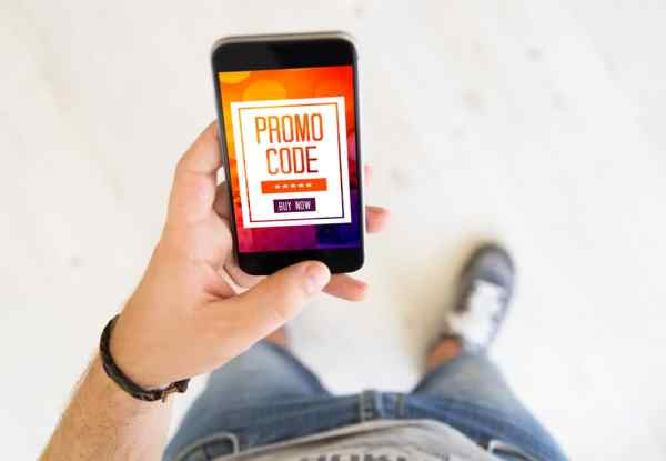 Coupon code on mobile phone