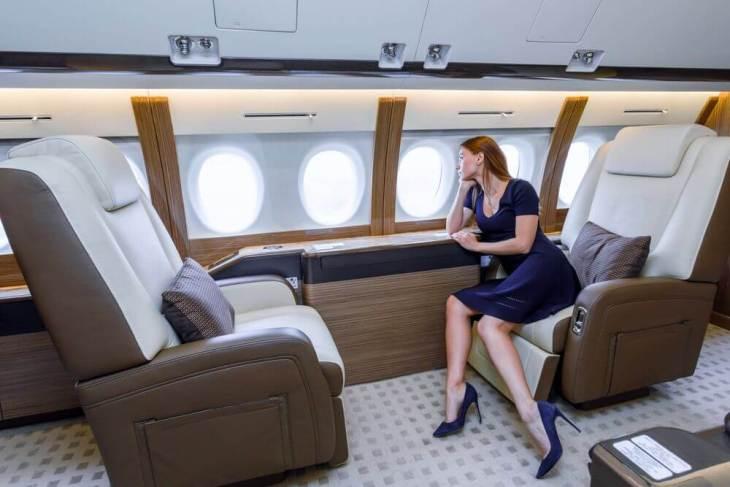 rich woman aeroplane