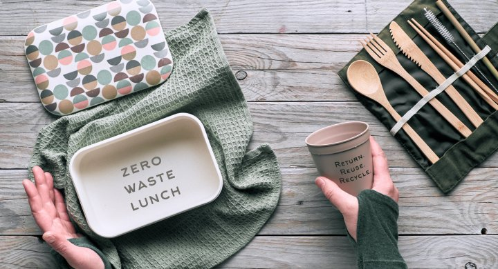 Green habits like using reusable bamboo lunchboxes save money AND the planet