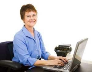 woman doing transcription