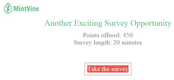 Sample Mintvine Survey Invitation