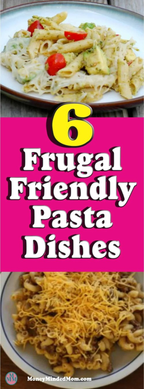 Frugal & Easy Pasta Meals Looking for easy and cheap frugal  pasta meals? I put together some great pasta recipes that will spice up dinner time. Plus you know your kids will love them, what kid (or adult) doesn't love pasta!!