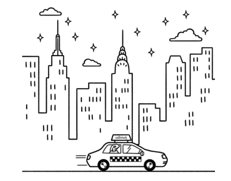 line art image of the new york city skyline with a taxi driving