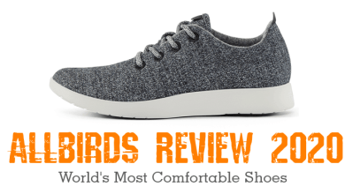 shows an allbirds shoe and Allbirds review text in orange