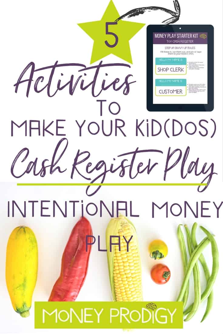 Do you DIY your kid's toy cash register play? Kids do pretty well with pretend grocery store play. But why not take that up a notch by introducing more intentional money play with your kid's toy cash register? Get my FREE Money Player Starter Kit to show you how. | https://www.moneyprodigy.com/set-teachable-money-play-using-kids-toy-cash-register/