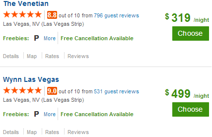 Las Vegas Hotel Search Via Priceline.com