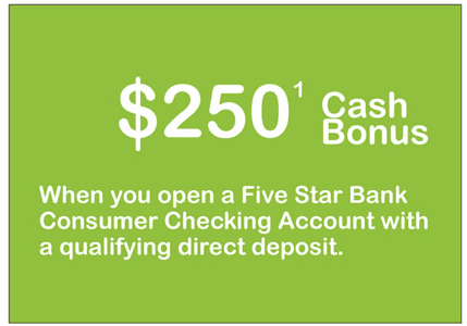 Five Star Bank Checking Bonus