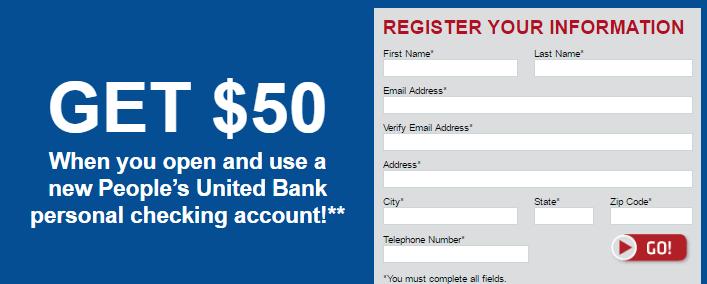 Peoples United Bank $50 Bonus