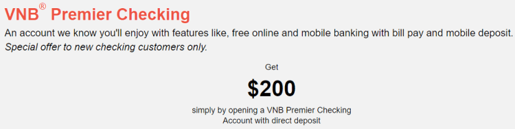 Valley National Bank $200 Checking Bonus