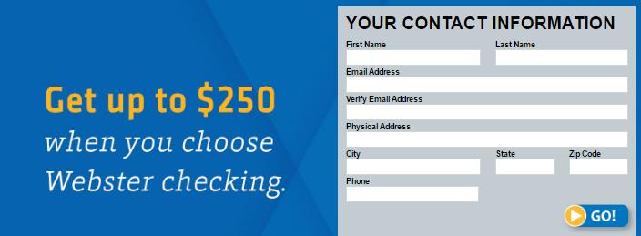 Webster Bank Checking $250 Bonus