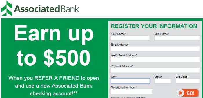 Associated Bank $500 Referral Bonus1