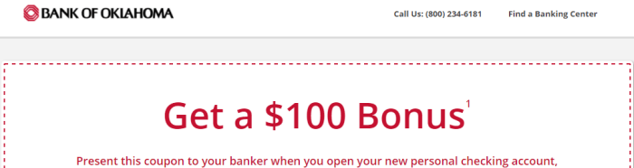 Bank Of Oklahoma $100 Checking Bonus
