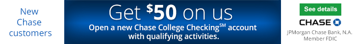 Chase College Checking $50 Bonus