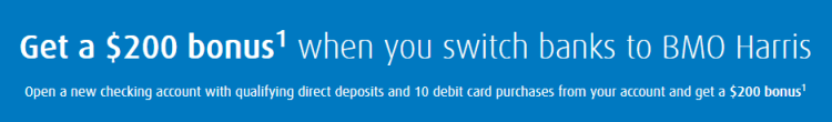 BMO Harris $200 Checking Bonus Q2 2018