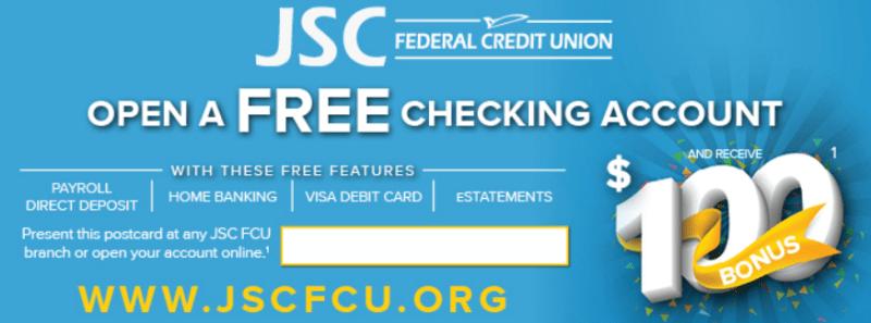 JSC Federal Credit Union $100 Checking Account Bonus