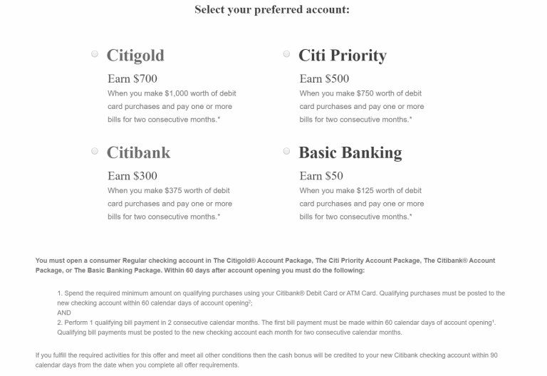 Citibank Promotions 200 400 500 600 700 Checking Account