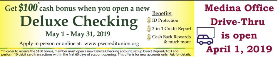 $100 bonus offer from PSE Credit Union
