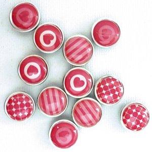12 mini magnets époxy - Ø12mm - Rose - Graines créatives