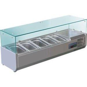 Vitrine à ingrédients réfrigérée de 7 bacs Format GN un quart Polar Pour 7 bacs gastronormes Format GN 1/4.
