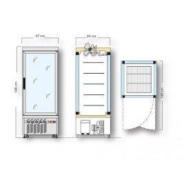 vitrine panoramique professionnelle - 5 tablettes - 430 litres - ( +2° c / +10°c) - 620w - 230v - neuve - equipementpro