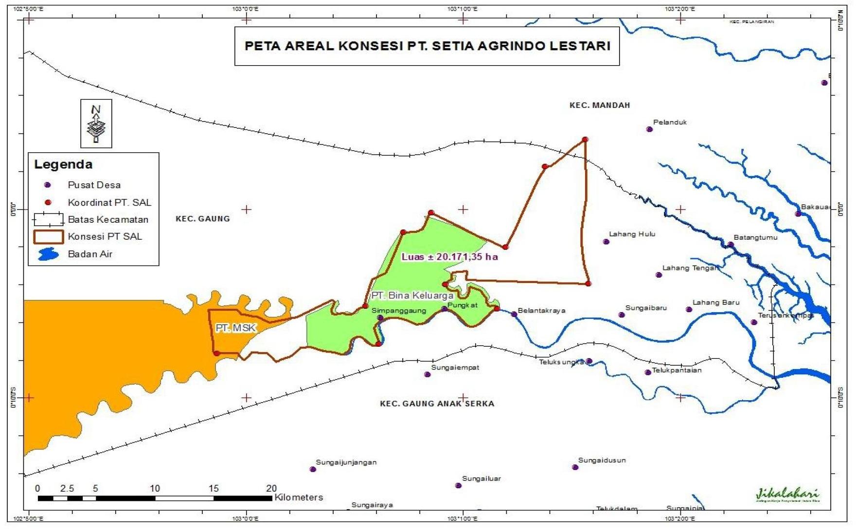 Berdasarkan peta konsesi Kementerian Kehutanan 2010 pada kawasan konsesi PT Setia Agrindo Lestari, terdapat tumpang tindih dengan kawasan konsesi PT Mutiara Sabuk Khatulistiwa seluas sekitar 2.000 hektar. Sumber : Jikalahari