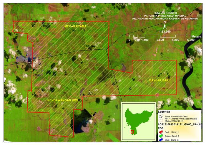 Peta konsesi PT. HPAM di Kecamatan Kendawangan, Kabupaten Ketapang, Kalimantan Barat. Peta: Kementerian ESDM