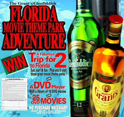 The Grant's/Glenfiddich Florida Movie Theme Park Adventure Prize Top Box