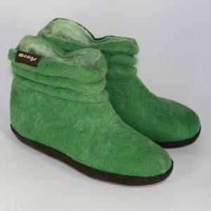 Warme Hausschuhe aus Filz mit Ledersohle und gestauchtem Schaft für Damen in der Farbe Grün - Lady Mongs Grün