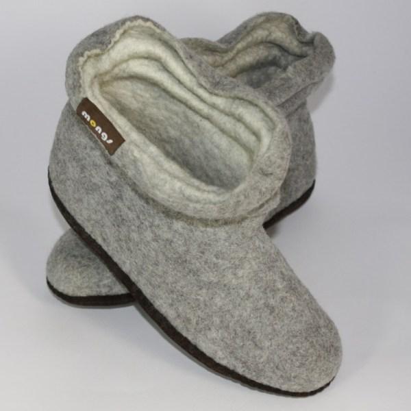 Warme Hausschuhe aus Filz mit Ledersohle und gestauchtem Schaft für Damen in der Farbe Grau - Lady Mongs Grau