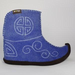 Warme Hausschuhe aus Filz mit Ledersohle für Damen und Herren in der Farbe Blau und in der typisch mongolischen Form - Ultra Mongs Blau